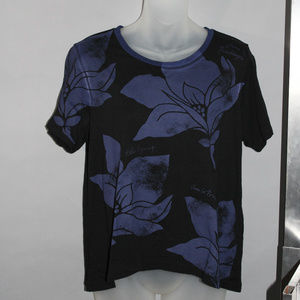 Black tee, short sleeves, celebrates Spring, XS